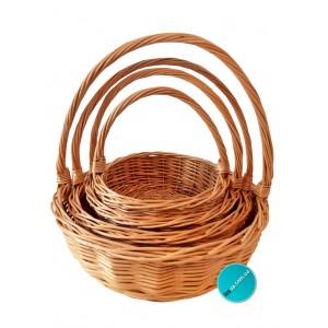 кошик з лози подарунковий  круглый (набор)