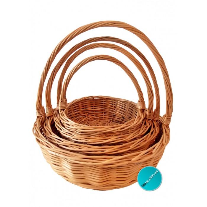 Купить кошик з лози подарунковий  круглый (набор)